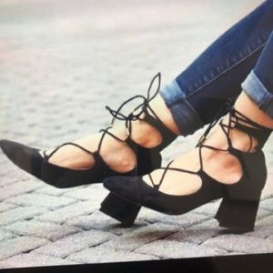 New! Zara Trafaluc black suede lace up heels. 8